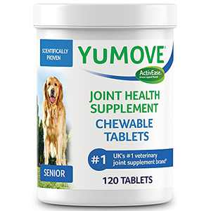 YuMOVE Senior Dog Tablets | Higher Strength Hip and Joint Supplement for Dogs with Glucosamine, Chondroitin, Hyaluronic Acid, Green Lipped Mussel | Dogs Aged 8+ | 120 Tablets