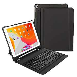 iPad 10.2 inch Keyboard case, OMOTON iPad 8th 7th Generation case with Keyboard for iPad 10.2/iPad Air 10.5/iPad Pro 10.5, Ultra-Thin Bluetooth Keyboard Case with Built-in Stand & Pencil Holder, Black