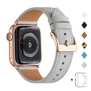 Bestig Band Compatible for Apple Watch 38mm 40mm 42mm 44mm, Genuine Leather Replacement Strap for iWatch Series 6 SE 5 4 3 2 1, Sports & Edition (Light Gray+Rose Gold, 38mm 40mm)