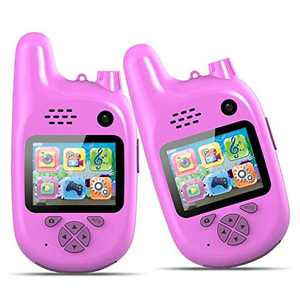 CrazyFire Walkie Talkies for Kids,Multiple Function Kids Walkie Talkies with Digital Video,Dual Lens Camera,Music Playing,3 Kinds of Puzzle Game,Gift and Toy for 3-12 Years Old Boys and Girls(Pink)