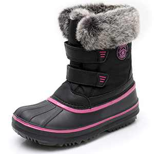 SOLARRAIN Winter Snow Boots for Toddler Girls Waterproof Insulated Cold Weather Rain Boots for Little Kids Black