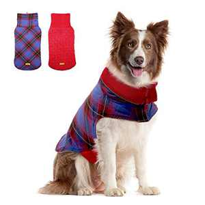 Kuoser Outdoor Thickened Fleece Lining Dog Winter Coat Reflective Dog Vest Warm Dog Apparel for Cold Weather Dog Jacket for Small Medium Large Dogs L