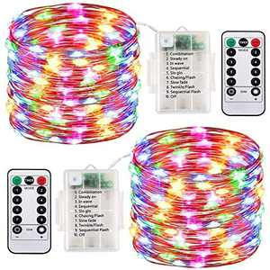 Fairy Lights Battery Operated 2 Pack, 33 Feet 100 LED String Lights with Remote Control, Waterproof Fairy String Lights Decorative Lights for Indoor/Outdoor Christmas Halloween Décor (Multi Color)