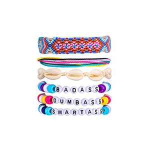 EEPIRR Vsco Bracelet Kit, Handmade and Waterproof Natural Shell/Braided Friendship/Ponybead/Wax String Bracelets Set 6 Pack