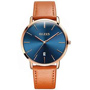 OLEVS Watches Relojes para parejas Swiss Brand Watch Men Women Ultra Thin Quartz Analog Wrist Watches His and Hers Casual Watch Leather Wristwatch for Men Women Set of 2