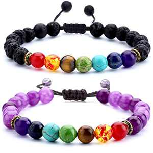 Hamoery Men Women 8mm Lava Rock Chakra Beads Bracelet Set Braided Rope Natural Stone Yoga Bracelet Bangle (Set 4)