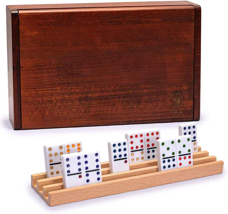 Yellow Mountain Imports 91 Tiles Double 12 Dominoes (Pips/Dots) Game Set with Wooden Case and 4 Racks