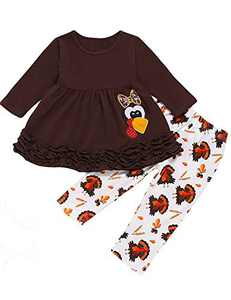 Mutiggee Little Girls Thanksgiving Day Outfit Toddler Funny Turkey Pant Set (Brown,18-24 Months)