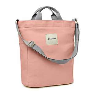 Canvas Tote Bag With Zipper And Pockets Casual Crossbody School Planner Hobo Bags For Women,Almond Pink