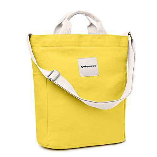Canvas Tote Bag With Zipper And Pockets Casual Crossbody School Planner Hobo Bags For Women,Yellow