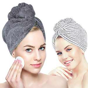 Laluztop Hair Towel Wrap for Women, Ultra Soft Hair Drying Towels with Button, Anti Frizz Super Absorbent & Quick Dry Hair Turban for Drying Curly, Long & Thick Hair(2 PCAK)