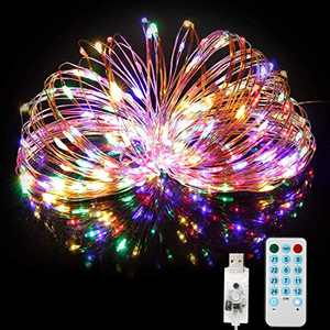 USB String Lights 66ft 200LEDs Plug in Fairy Lights with Remote Timer 4 Music Modes 8 Scene Modes,USB Led String Lights with Waterproof Copper Wire,Colored String Lights for Christmas Halloween Party