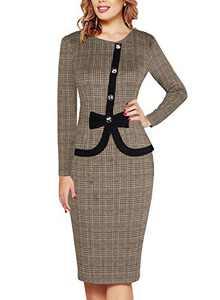 Fantaist Long Sleeve Dress,Winter Bowknot Church Party Slim Sheath Office Work Dresses for Women Casual (L, FT636-Kakhi Plaid)