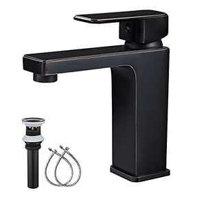 Midanya Bathroom Sink Faucet Oil Rubbed Bronze Single Handle 1 Hole Deck Mount ORB Lavatory Mixer Tap Include Pop Up Drain with Overflow Commercial One Lever
