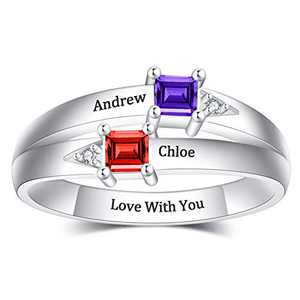 NovGarden Personalized Promise Rings for Couples, Sterling Silver Double Birthstones Rings with Names Customized Jewelry for Best Friend, Betrothed