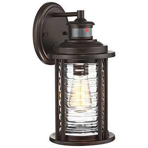 "MOTINI 14"" Motion Sensor Outdoor Wall Lantern Fixture, Dusk to Dawn Bronze Wall Mount Porch Light,ETL Listed Wall Sconce"