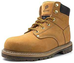 DEVENS Men's 6 inch Leather Steel Toe Work Boots, Electric Hazard Protection, Non Slip Industrial Construction Safety Boots