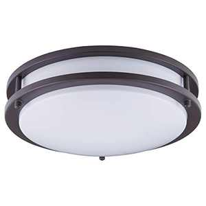 "KINGBRITE LED Ceiling Light 12"" 15W Dimmable Ceiling Lamp 1050lm 3000K Warm White, Oil Rubbed Bronze Round Flush Mount for Kitchen, Hallway, Stairwell, Bathroom Damp Location"