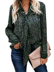 Ofenbuy Womens Leopard Print Long Sleeve Blouses Casual V Neck Chiffon Elegant Shirt with Tie Green