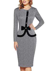 Fantaist Wear to Work Dress,Long Sleeve Winter Elegant Office Dresses for Women Formal Business Party (L, FT636-Grey Long)