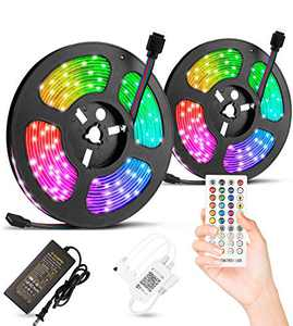 32.8ft LED Strip Lights,Alitade Waterproof Timing RGB Light Strip with 40 Key IR Remote Controller,SMD 5050 RGB 300LEDs Music Sync Color Changing Lighting for DIY Home Bar Bedroom Party Decoration