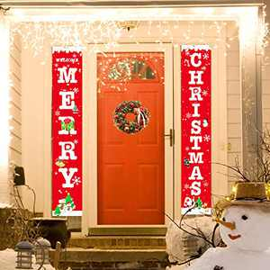 Wityoo Christmas Decoration Outdoor Indoor,Merry Christmas Porch Sign,Xmas Decor Banners for Home Front Door Wall Yard Garden Offiice Apartment Decoration