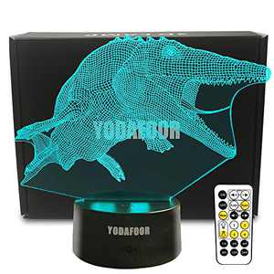 YODAFOOR Mosasaurus Dinosaur Night Lights for Kids 3D Night Light Bedside Lamp 7 Colors Changing with Remote Control Best Birthday Christmas for Teens Boys Girls Kids Room Decor
