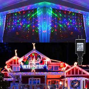KNONEW LED Icicle Lights, 8 Modes, Curtain Fairy Light, Clear Wire LED String Decor for Christmas/Thanksgiving/Easter/Halloween/Party Backdrops Decorations (Multicolor)
