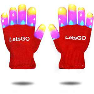 Led Gloves for Kids Party Halloween, dmazing Flashing Light Up Gloves for Kids Toys for 3-7 Years Old Girls Party Favor Birthday Halloween Xmas Gift for Girls Kids Party Supplies Stocking Stuffers Red