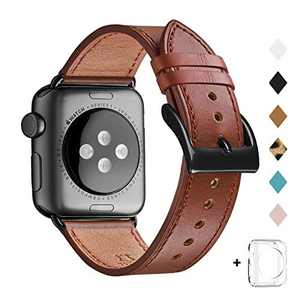 Bestig Band Compatible for Apple Watch 38mm 40mm 42mm 44mm, Genuine Leather Replacement Strap for iWatch Series 6 SE 5 4 3 2 1, Sports & Edition (Retro Reddish Brown Band+Black Adapter, 42mm 44mm)