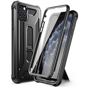 """Dexnor for iPhone 11 Pro Max Case, [Built in Screen Protector and Kickstand] Dual Layer Heavy Duty Military Grade Shockproof Defender Full Body Protective Cover for iPhone 11 Pro Max 6.5"""" Black"""