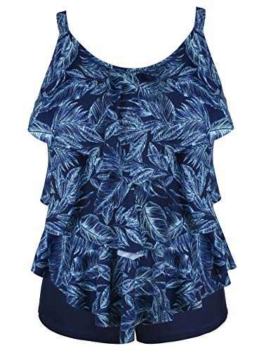 Cadocado Women's Floral Tankini Set Tummy Control Bathing Suits Layered Long Torso Swimwear,Blue Leaves Print,US 14