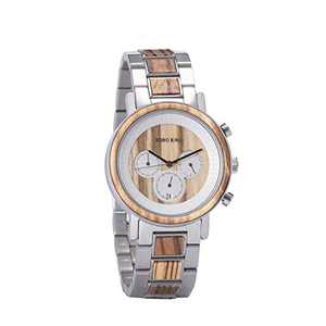 Wooden Watches Mens Luxury Chronograph Date Display Wrist Watch with Stainless Steel Band Quartz Watch