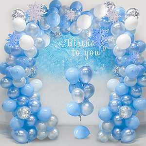 Balloon Garland Arch Kit 16Ft Long Ice Snow Blue & White & Silver Latex Balloons Pack for Wedding Birthday Baby Shower Bachelorette Party Backdrop Decorations