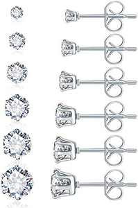 Surgical Steel Earrings Sterling Silver Earrings Stainless Studs for Sensitive Ears 6 Pairs Round Clear Cubic Zirconia Earrings Hypoallergenic Multi Piercing Ears CZ Simulated Diamond Stud Earring Women Men Boys Girls…