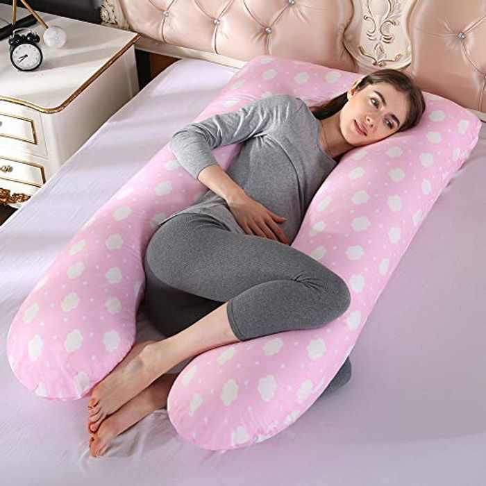 Topchances U-shaped Pregnancy Pillow, Maternity Full Body Pillows, Cuddle Pillow for Adults Pregnant Women, Back, Neck & Leg Pain Relief(Pink-Cloud)