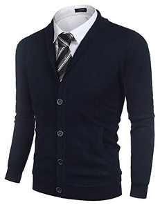 COOFANDY Men Cardigan Shawl Collar Button Down Sweater Casual Long Sleeve Knitwear (Navy Blue S)