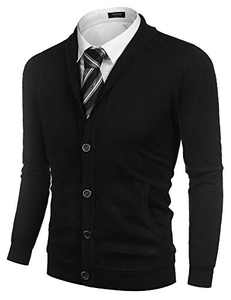 COOFANDY Shawl Cardigan Men Solid Basic Business Cardigans Button Down Sweater (Black XXL)