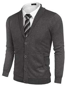 COOFANDY Shawl Collar Cardigan for Men Casual Button Up Knit Sweater Cotton Knitwear (Grey XXL)