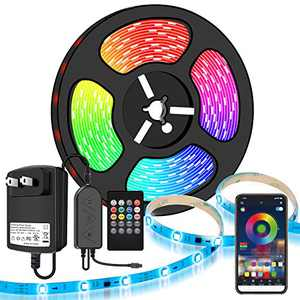 LED Strip Lights, Moobibear 10M/32.8FT Flexible Strip Light SMD 5050 RGB with Bluetooth Controller Changing Tape Lights kit with LED Sync to Music for Bedroom,Kitchen Under Counter, Under Bed Lighting