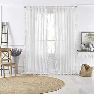 """Elrene Home Fashions Bella Tab-Top Ruffle Sheer Window Curtain Panel for Living, Dining Room, Bedroom, 52"""" x 84"""" (1, White"""