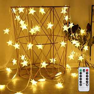 SETIFUNI 24.6 Feet 50 LED Christmas Star LED String Lights Waterproof with Remote&Timer Battery Operated Fairy String Light for Indoor&Outdoor,Garden ,Wedding ,Festivals Party( Warm White)