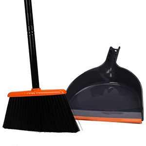 TreeLen Angle Broom and Dustpan, Dust Pan Snaps On Broom Handles Orange