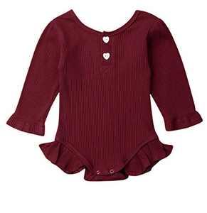 MAINESAKA Newborn Baby Girl Long Sleeve Button Knitted Romper One Piece Ribbed Bodysuit (Burgandy, 0-3M)