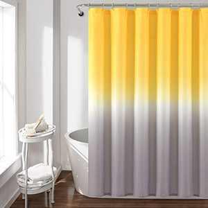 "Lush Decor Umbre Fiesta Shower Curtain, 72"" x 72"", Yellow and Gray"
