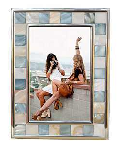GIFTME 5 Silver Plate Picture Frame 4x6 Mother of Pearl 4 by 6 Photo Frame Mosaic Glass Tabletop Frame (Grey+ White,1pc)