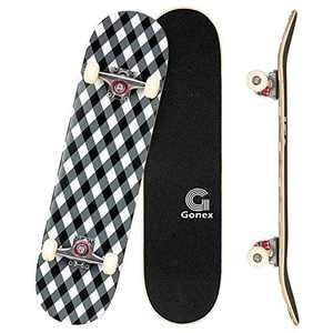 Gonex 31 x 8 Inch Skateboards for Beginners &Pro, Complete Skateboard Double Kick Standard Skateboard 9 Layer Maple Deck Concave Skateboard for Girls Boys Kids Teens Adults, Diamond