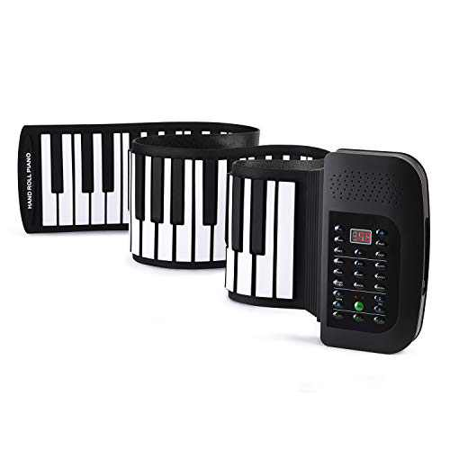 Donner Roll Up Keyboard Piano, 88 Keys Foldable for Kids Beginners Practice with Sustain Pedal Black
