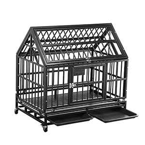 PUPZO Heavy Duty Dog Cage Crate Kennel Strong Metal with Four Wheels and Roof for Large Dogs Easy to Assemble (38 INCH ROOF Black)
