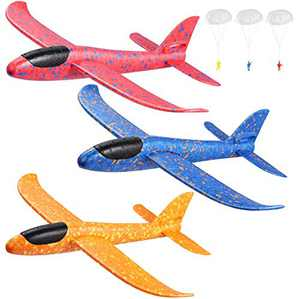 """Toyvian 3 Pack Airplane Toys,14.57"""" Foam Glider Plane,Manual Throwing,Outdoor Sports Toys, Model Plane Foam,Birthday Gift Flying Gliders, Foam Airplane for Boys & Girls"""
